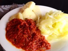 Corned beef stew with Ghanaian yam and cabbage