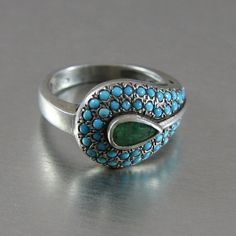 Vintage Indian Silver With Turquoise  Emerald Ring