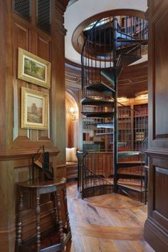 Trendy home library room dreams spiral staircases Home Library Rooms, Home Library Design, Home Libraries, Design Desk, Open Stairs, Accent Walls In Living Room, Wood Panel Walls, Small Living Rooms, Modern Living