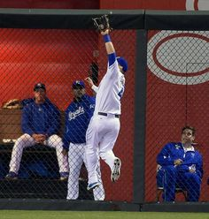 Kansas City Royals left fielder Alex Gordon (4) catches a fly ball out on Cincinnati Reds' Todd Frazier to end the top of the fifth inning during Wednesday's baseball game on May 20, 2015 at Kauffman Stadium in Kansas City, Mo.