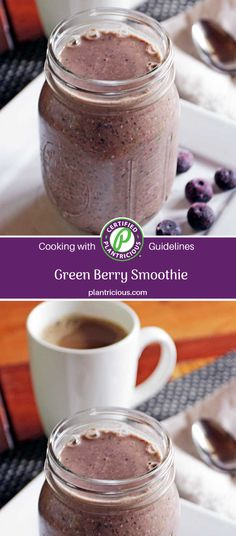 Green Berry Smoothie - Plant Based Cooking - It's not always easy to get in all the greens you know you should be eating, but this smoothie makes it easy. Green Powder, Breakfast Time, Nutritious Meals, Plant Based Recipes, Smoothies, Berry, Easy Meals, Frozen, Nutrition