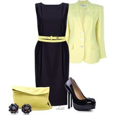 Business Navy and Yellow by christa72 on Polyvore featuring John Lewis, Valentino and BCBGMAXAZRIA