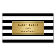 Nail Technician - Modern Black White Stripes Double-Sided Standard Business Cards (Pack Of 100)