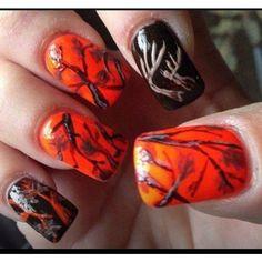 Hunting Camo Nails, Camouflage Nails, Orange Nail Designs, Toe Nail Designs, Super Cute Nails, Pretty Nails, Country Nails, Cow Nails, Orange Nails