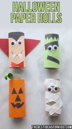 HALLOWEEN CRAFTS FOR KIDS: these Halloween toilet paper rolls are too cute! A pumpkin, mummy, frankenstein and vampire toilet paper roll crafts for Halloween. An easy Halloween craft for toddlers or preschool! #halloween #halloweencrafts #kidscrafts #kids #preschool #preschoolers #preschoolcrafts #toddleractivities #kidsactivities by susanna