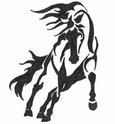 Black Ink Horse Tattoo Design