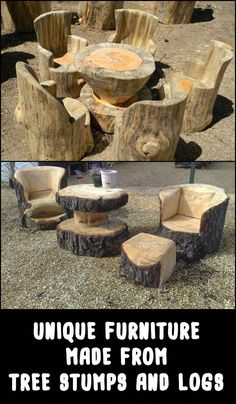 Unique Furniture Made From Tree Stumps And Logs is part of Woodworking furniture - What makes these pieces of furniture astonishing is that it takes great woodworking skills and talent to make one! Agree If Tree Furniture, Unique Furniture, Rustic Furniture, Furniture Making, Garden Furniture, Furniture Ideas, Furniture Stores, Urban Furniture, Furniture Online