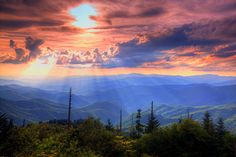 The view from Waterrock Knob peak at 6,292' , near MP 451 on the Blue Ridge Parkway south of Asheville --- Smokies Sunset by Doug McPherson. Description from pinterest.com. I searched for this on bing.com/images