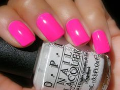 """Yesterday I promised you swatches of the beautiful, Limited Edition OPI Neon Revolution mini set, and today I have your first look… at hot, HOT pink, """"Pink Outside the Box! Bright Pink Nails, Pink Nail Colors, Pink Gel Nails, Neon Nail Polish, Neon Nails, Opi Nails, Nail Polish Colors, Opi Pink, Pink Polish"""