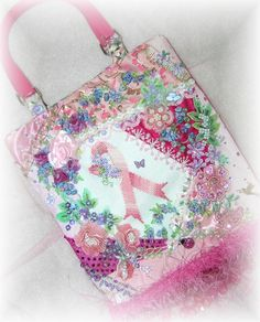 Pink Ribbon Crazy Quilt Purse Breast Cancer Awareness Ribbon