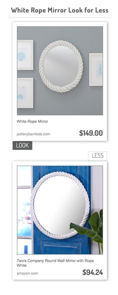 White Rope Mirror vs Two's Company Round Wall Mirror with Rope White