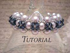 Right Angle Weave Pearl Bracelet with Flower Crystal Overlay Tutorial