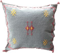 Blue Cushion with Red and Yellow Embroidery This wool embroidered cushion is the perfect accent to your home. With a muted blue/grey base the pop of red and yellow embroidery stands out and provides a unique pattern. 45 x Blue Cushions, Embroidered Cushions, Soft Furnishings, Blue Grey, Base, Throw Pillows, Embroidery, Wool, Yellow