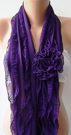 purple.quenalbertini: Purple Chiffon Scarf on Etsy