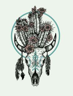 by Raych Pony Gold. Illustration by Raych Pony Gold. Wüsten Tattoo, Piercing Tattoo, Tattoo Drawings, Bull Skull Tattoos, Bull Skulls, Native American Tattoos, Native Tattoos, Illustration Cactus, Desert Tattoo