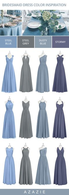 Bridesmaid dresses - Blue Bridesmaid Dresses in color mixmatches Dusty Blue, Stormy, Steel Grey, Steel Blue wedding weddinginspiration bridesmaids bridesmaiddress bridalparty maidofhonor weddingideas weddingcol Steel Blue Bridesmaid Dresses, Bridesmaid Dress Colors, Blue Bridesmaids, Wedding Bridesmaid Dresses, Wedding Gowns, Wedding Ceremony, Dusty Blue Weddings, Steel Blue Weddings, Wedding Colors
