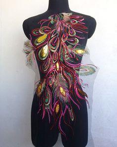 Multicolour Phoenix feather sequins Applique patches vintage Embroidered Lace Fabric Applique DIY clothing decorative patch
