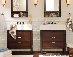 artchick2002: Bath - Bathroom Eight | Pottery Barn - vanity, subway tile, sconce, bathroom