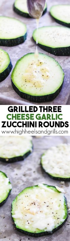 These Grilled Three Cheese Garlic Zucchini Rounds are the only way to eat zucchini. They are ridiculously easy to throw together and taste so good.