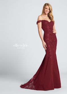 Beaded lace evening dress - Ellie Wilde - ew21725 593f8e0477b4