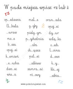 Karty pracy  Ortografia. Pisownia rz i ż Primary Teaching, Teaching English, Polish To English, Learn Polish, Polish Language, Teaching Humor, Pre School, Kids And Parenting, Good To Know