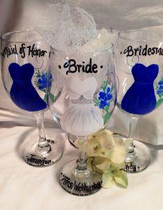 Wedding Glasses Bridal Party Handpainted Wine by KyGirlShop, $12.00