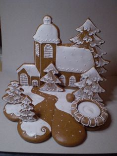 svietnik Gingerbread Village, Christmas Gingerbread House, Gingerbread Cookies, Christmas Cookies, Christmas Candles, Christmas Love, Christmas Decorations, Cookie House, Home Candles