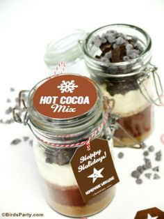 DIY Homemade Hot Cocoa Mix Gift in a Jar with FREE printable Gift Tags - The perfect gift for teacher's, neighbors or great party favors too! Chocolate Diy, Hot Chocolate Mix, Jar Gifts, Food Gifts, Graduation Gifts For Him, Pots, Hot Cocoa Mixes, Free Printable Gift Tags, Meals In A Jar