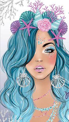 I am amazed Mermaid Wallpapers, Cute Wallpapers, Mermaid Wallpaper Iphone, Unicornios Wallpaper, Mermaid Drawings, Mermaid Artwork, Mermaid Pictures, Unicorns And Mermaids, Unicorn Art
