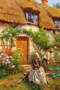 Cottage Life ~ Gregory Frank Harris. Fine more Impressionism paintings here at ArtandFrame-x.com