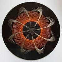 Uv Wall Art The Spin In Orange Abstract - Diy Crafts - Marecipe String Art Tutorials, String Art Patterns, Arte Linear, Art Du Fil, Nail String Art, Spirited Art, Geometry Art, Thread Art, Paper Embroidery