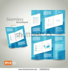 seamless brochure design template folder leaflet geometric abstract element color white line blue background, block for images by photovs, v...