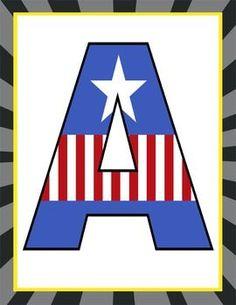 Super hero - classroom decor: captain america banner letters by artrageous fun Superhero Letters, Superhero Classroom, Banner Letters, Superhero Birthday Party, Classroom Decor, Captain America Party, Captain America Birthday, Super Hero Banner, Avengers Room
