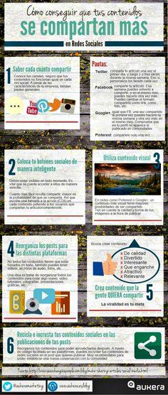 Una infografía, íntegramente en castellano, con seis consejos o trucos para lograr que nuestros posts sociales logren una mayor difusión.
