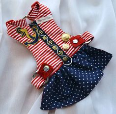Dog Harness Red and White Cotton Stripe Print, and Navy and White Polka Dot cotton. Crystal snaps and Navy and Gold Anchor ribbon detail down center