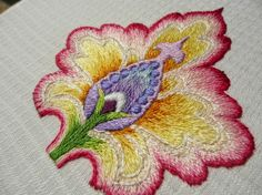 Okyo is in the room.: 刺繍(embroidery) another interpretation of pomegranate flower by Mary Corbet:)