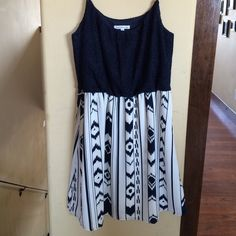 Tribal Navy Blue Summer Dress Size Medium summer dress with a lace top and a tribal bottom. Navy with a beige background. Only worn once. Charlotte Russe Dresses Midi