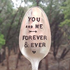 You and Me, forever and ever - hand stamped lovers spoon - gift for him, gift for her, anniversary, wedding gift ideas under 25
