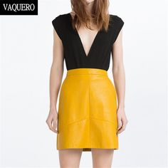 Winter high waist faux PU leather skirt Chic slim A line pencil skirts Casual black pink yellow blue back zipper short skirt-in Skirts from Women's Clothing & Accessories on Aliexpress.com | Alibaba Group