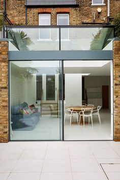 Double track minimal frame sliding doors with structurally glazed clerestory and roof glazing Sliding Door Design, Sliding Doors, Mary Poppins, Roof Design, House Design, Sliding Door Window Treatments, Door Design Interior, Exterior Design, Patio Doors