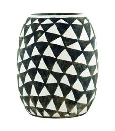 Vase triangles gris/blanc