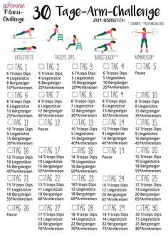 30 day arm challenge: tell the slack arms to fight .- 30 Tage Arm-Challenge: Sag den schlaffen Winkearmen den Kampf an! arm challenge: Say goodbye to the arms! Sports Challenge, 30 Day Arm Challenge, Month Workout Challenge, Workout Schedule, Workout Ideas, Abdominal Inferior, Sport Motivation, Fitness Motivation, 30 Day Arms