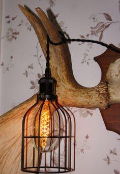 Vintage Lighting - Svart burlampa med 5 meter tvinnad textilkabel