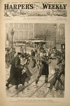 "Harper's Weekly Front Cover - 14th & Broadway - NYC street scene. - 27 March, c.1897. Illustrator: W.A. Rogers. Captioned: ""Dead Man's Curve"" - New York's Most Dangerous Crossing.""  Harper's Weekly was a popular periodical, during America's Gilded Age. ~~ {cwl}"