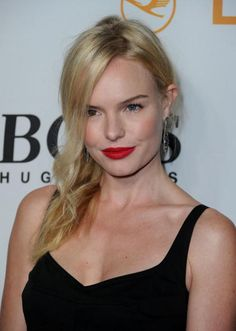 Kate Bosworth with a pop of red lipstick.