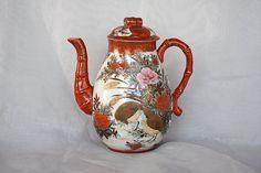 Antique Chocolate Pot - Kutani Porcelain - Meiji Period - Japan - Birds