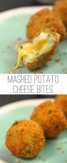 Mashed potatoes are one of those dishes that everybody likes. So doesn't that mean there should be TONS of ways to adapt them into fun and tasty treats? Try these little bites that are fried to perfection. Even better? They have a gooey cheese center tha Vegetarian Recipes, Cooking Recipes, Skillet Recipes, Vegetarian Finger Food, Healthy Food, Cooking Cake, Italian Finger Foods, Cooking Pasta, Vegetarian Barbecue