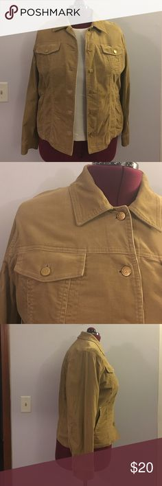 """Jones NY Signature Tan Corduroy Jacket size 1X Up for grabs is this jacket from Jones New York Signature. It is a size 1X and measures 24"""" from shoulder to hem and has a 49"""" bust. This jacket is tan corduroy that buttons down the front. It has long sleeves and pockets on the hips, inside and out. This coat has been gently worn and is in fantastic condition. Jones New York Jackets & Coats"""