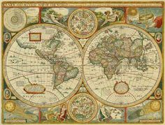 A New and Accurat Map of the World Drawne According to ye Truest Descriptions By: Robert Walton Date: 1659 Vintage Maps, Antique Maps, Vintage Ephemera, Map Globe, Historical Maps, Old Maps, History, Antiques, Prints