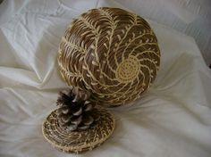 Pine-Needle Basket with Pinecone Lid , split wheat stitching